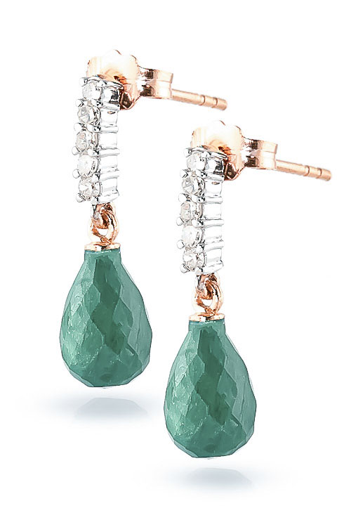 Emerald and Diamond Stem Droplet Earrings 6.6ctw in 9ct Rose Gold