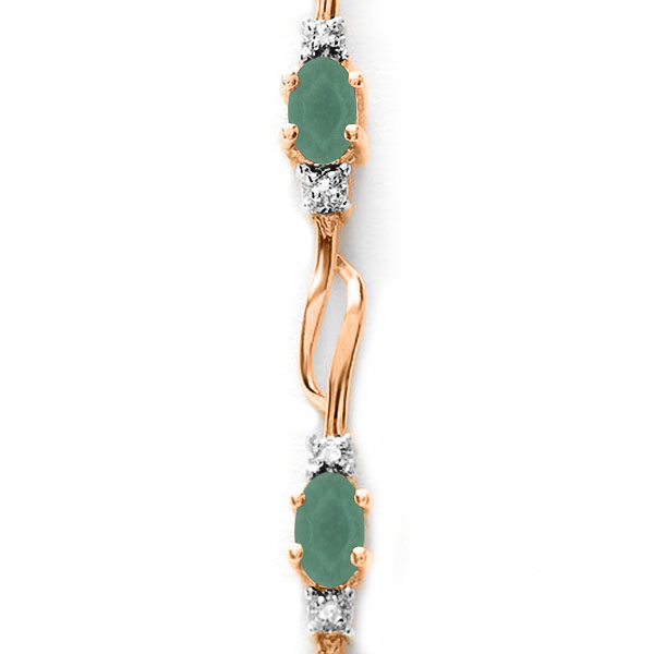 Emerald and Diamond Tennis Bracelet 3.5ctw in 9ct Rose Gold