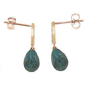 Emerald and Diamond Droplet Earrings 6.6ctw in 9ct Rose Gold