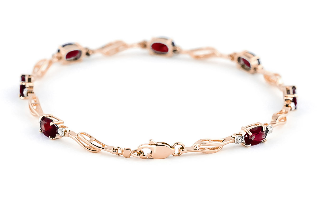 Garnet and Diamond Classic Tennis Bracelet 3.38ctw in 9ct Rose Gold