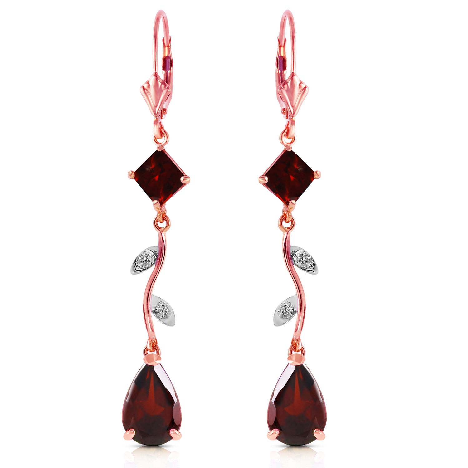 Garnet and Diamond Vine Branch Drop Earrings 3.95ctw in 9ct Rose Gold