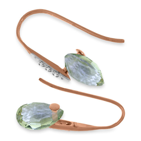 Green Amethyst and Diamond Drop Earrings 6.0ctw in 9ct Rose Gold