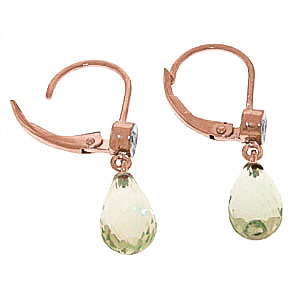 Green Amethyst and Diamond Illusion Drop Earrings 4.5ctw in 9ct Rose Gold