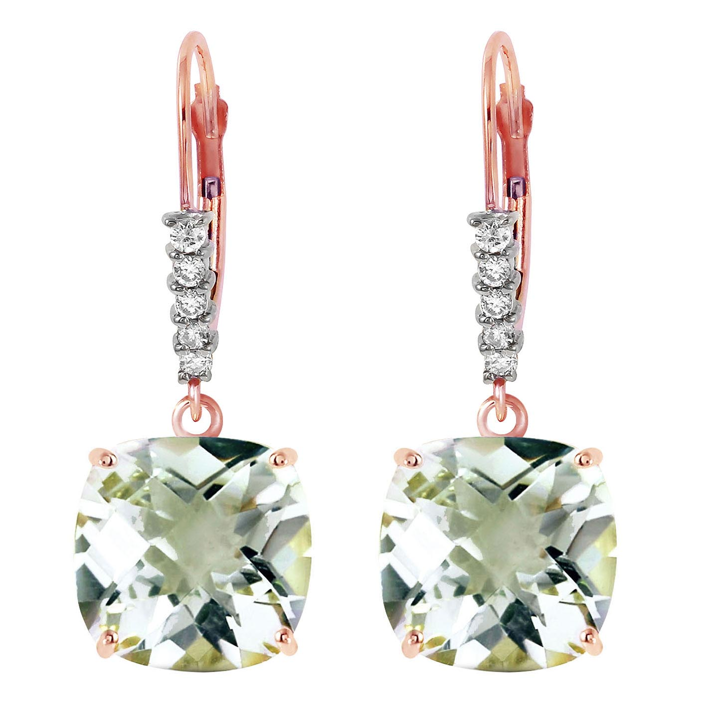 Green Amethyst and Diamond Rococo Drop Earrings 7.2ctw in 9ct Rose Gold