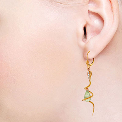 Green Amethyst and Diamond Serpent Earrings 4.5ctw in 9ct Rose Gold