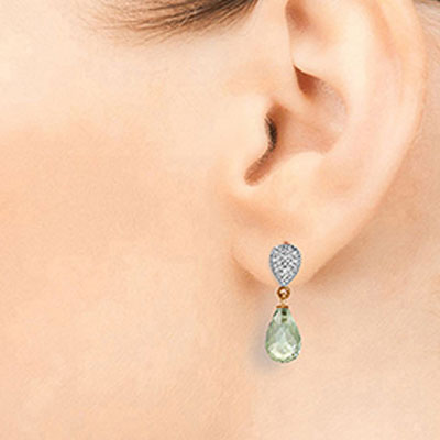 Green Amethyst and Diamond Droplet Earrings 4.5ctw in 9ct Rose Gold