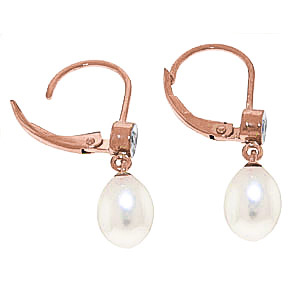 Pearl and Diamond Drop Earrings 8.0ctw in 9ct Rose Gold