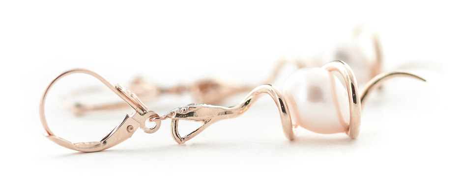 Pearl and Diamond Serpent Earrings 8.0ctw in 9ct Rose Gold