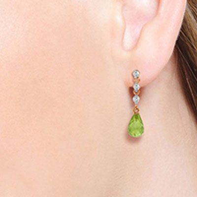 Peridot and Diamond Chain Droplet Earrings 3.0ctw in 9ct Rose Gold