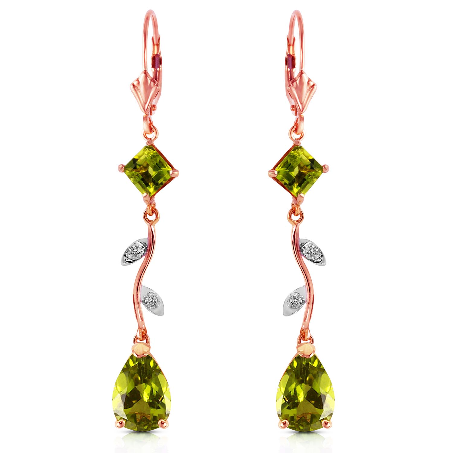 Peridot and Diamond Vine Branch Drop Earrings 3.95ctw in 9ct Rose Gold