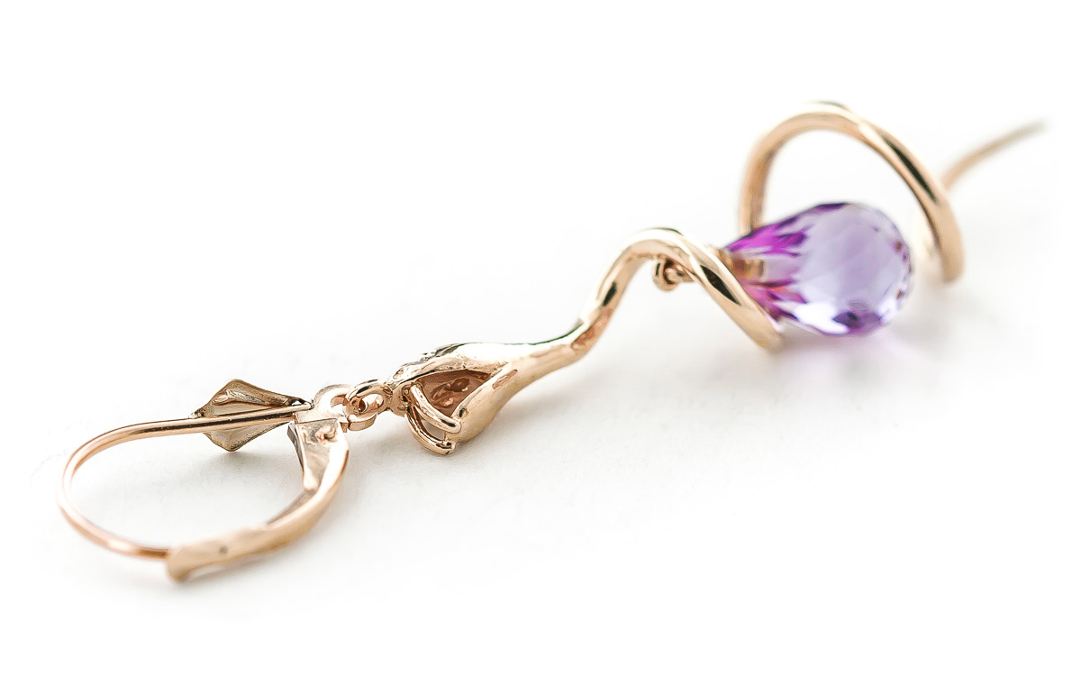 Pink Topaz and Diamond Serpent Earrings 4.5ctw in 9ct Rose Gold