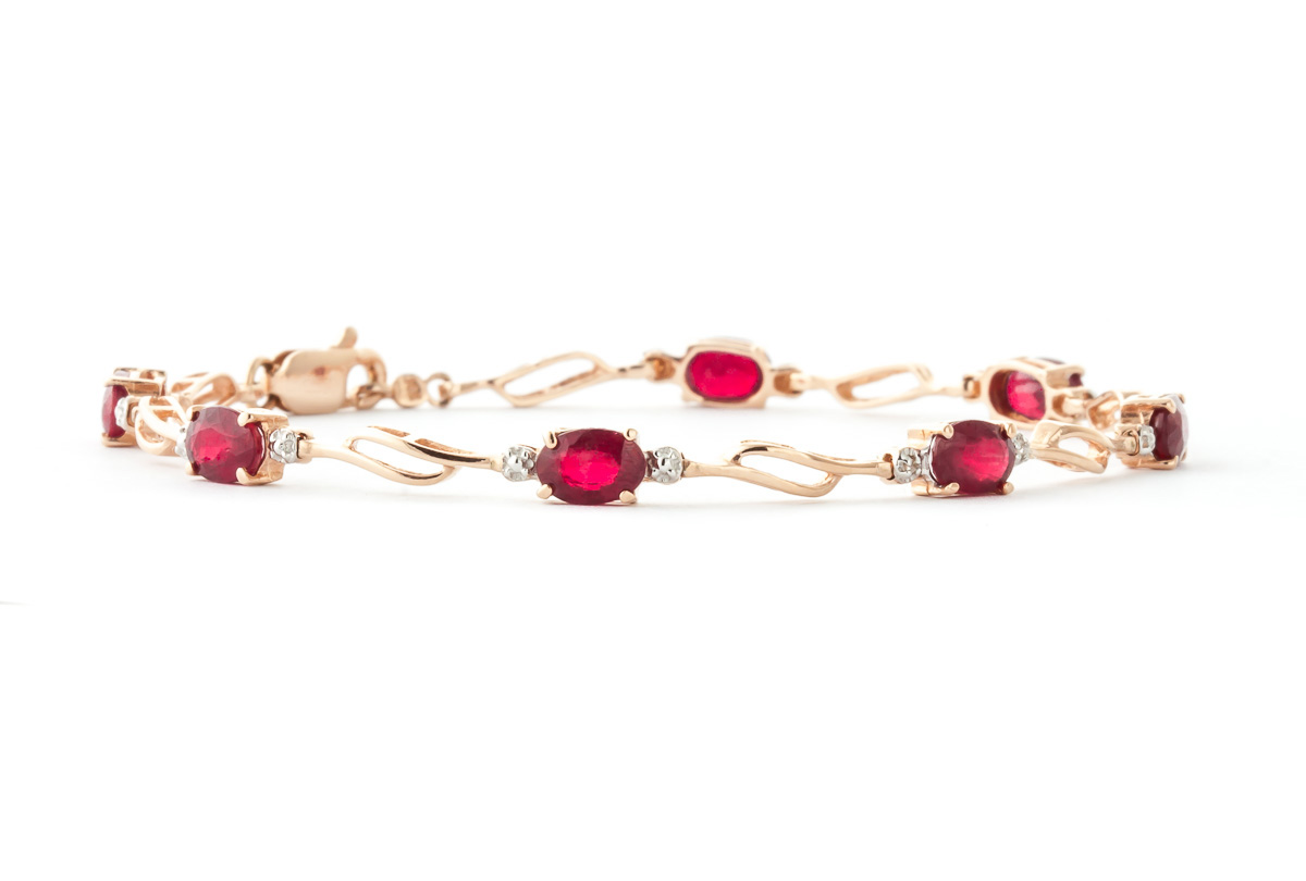 Ruby and Diamond Classic Tennis Bracelet 4.2ctw in 9ct Rose Gold