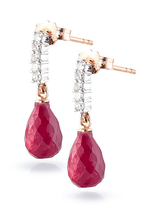 Ruby and Diamond Stem Droplet Earrings 6.6ctw in 9ct Rose Gold