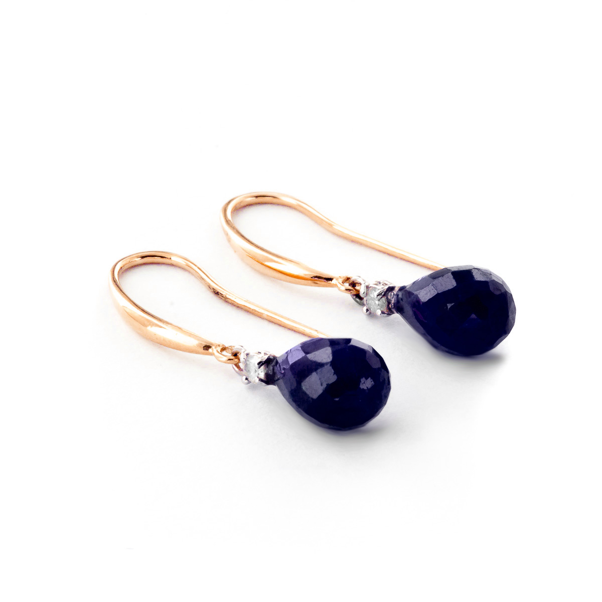Sapphire and Diamond Drop Earrings 6.6ctw in 9ct Rose Gold