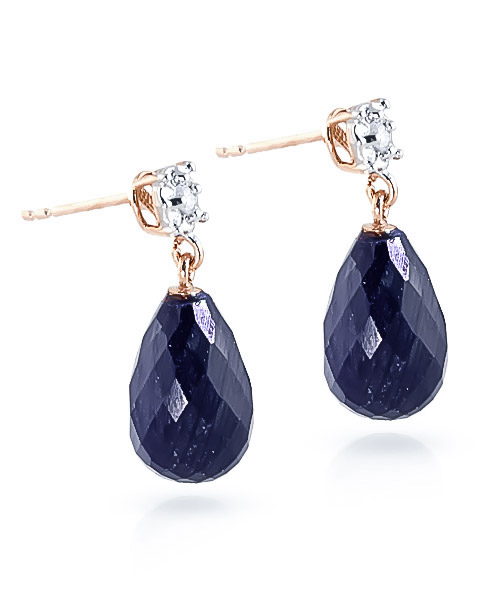 Sapphire and Diamond Illusion Stud Earrings 17.6ctw in 9ct Rose Gold