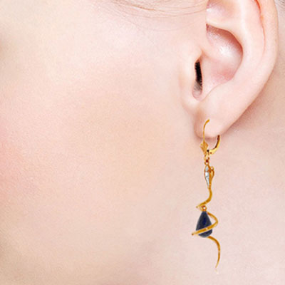 Sapphire and Diamond Serpent Earrings 6.6ctw in 9ct Rose Gold