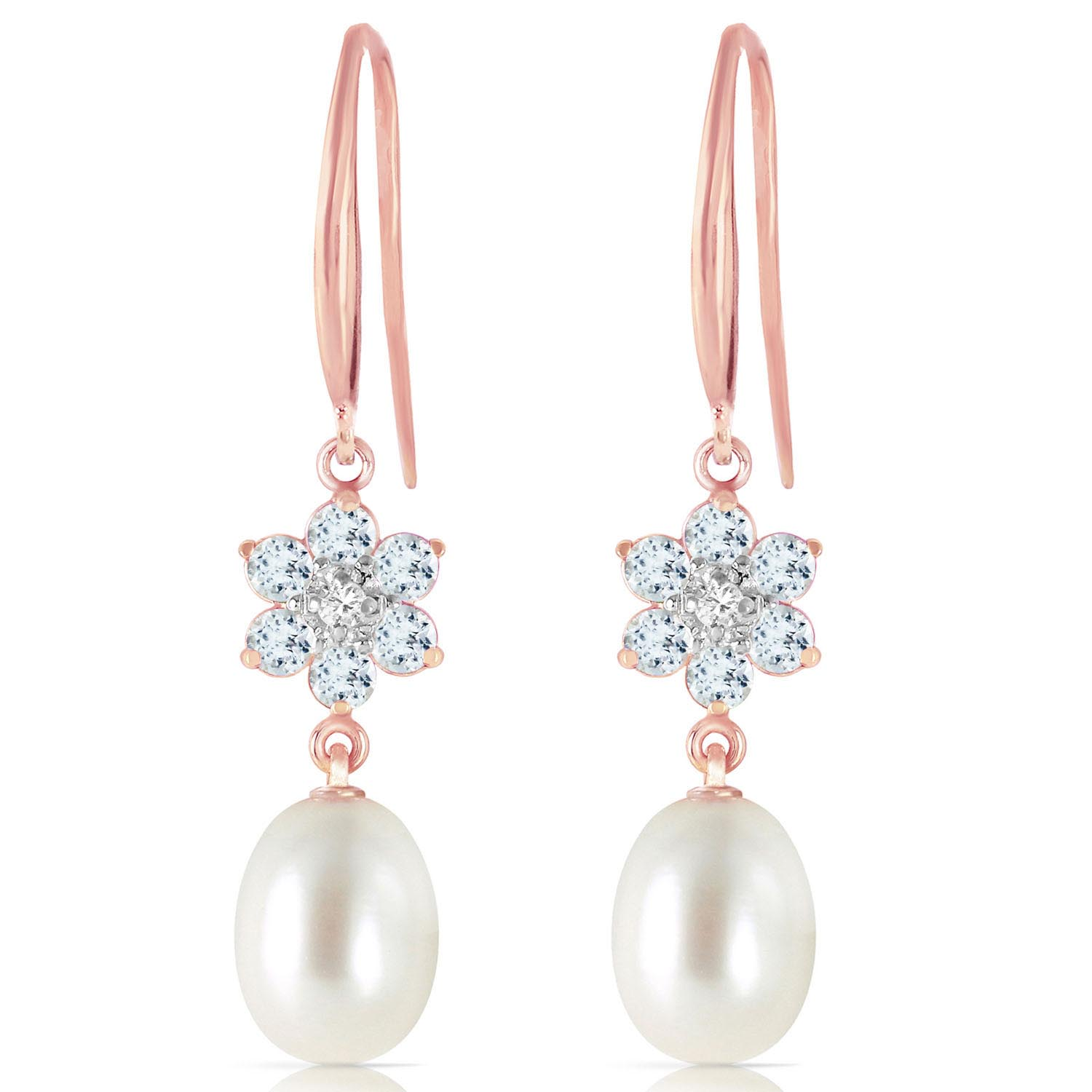Pearl, Diamond and Aquamarine Daisy Chain Drop Earrings 8.95ctw in 9ct Rose Gold