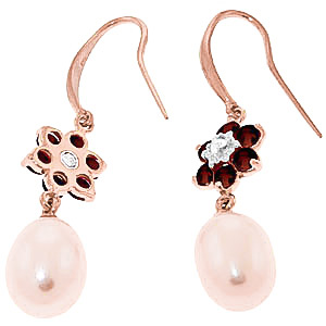 Pearl, Diamond and Garnet Daisy Chain Drop Earrings 8.95ctw in 9ct Rose Gold
