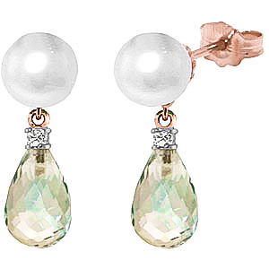 Pearl, Diamond and Green Amethyst Stud Earrings 6.5ctw in 9ct Rose Gold