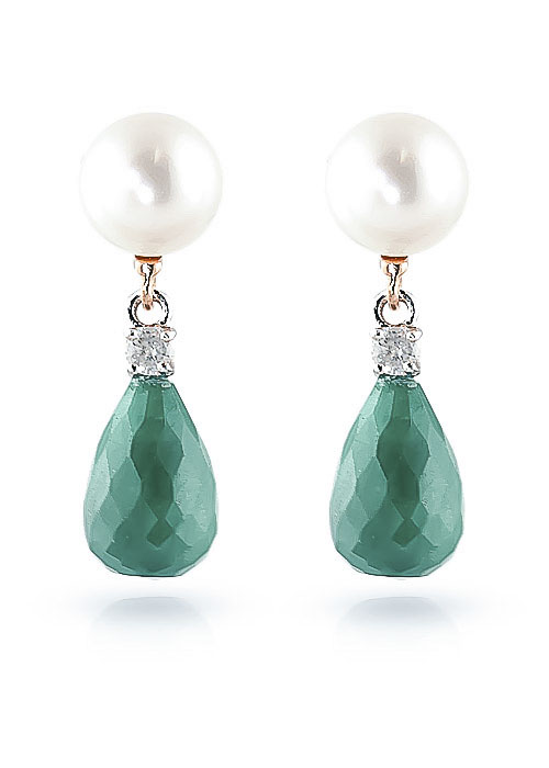 Emerald, Diamond and Pearl Drop Earrings 8.6ctw in 9ct Rose Gold