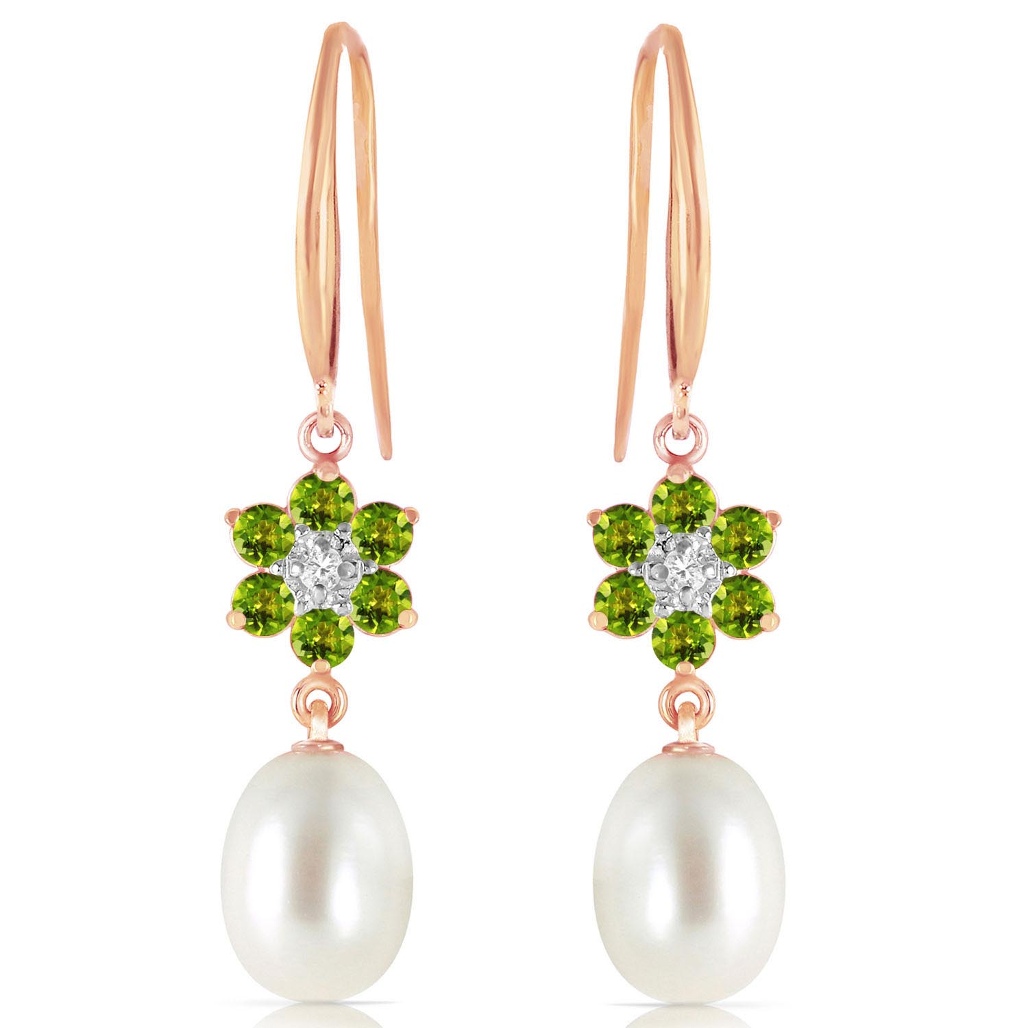 Pearl, Diamond and Peridot Daisy Chain Drop Earrings 8.95ctw in 9ct Rose Gold