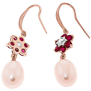 Pearl, Diamond and Ruby Daisy Chain Drop Earrings 8.95ctw in 9ct Rose Gold