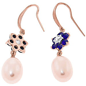 Pearl, Diamond and Sapphire Daisy Chain Drop Earrings 8.95ctw in 9ct Rose Gold