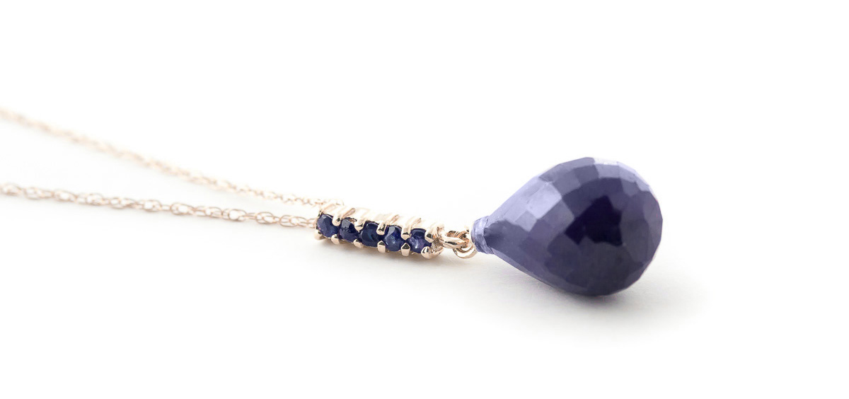 Sapphire Briolette Pendant Necklace 9.0ctw in 9ct Rose Gold