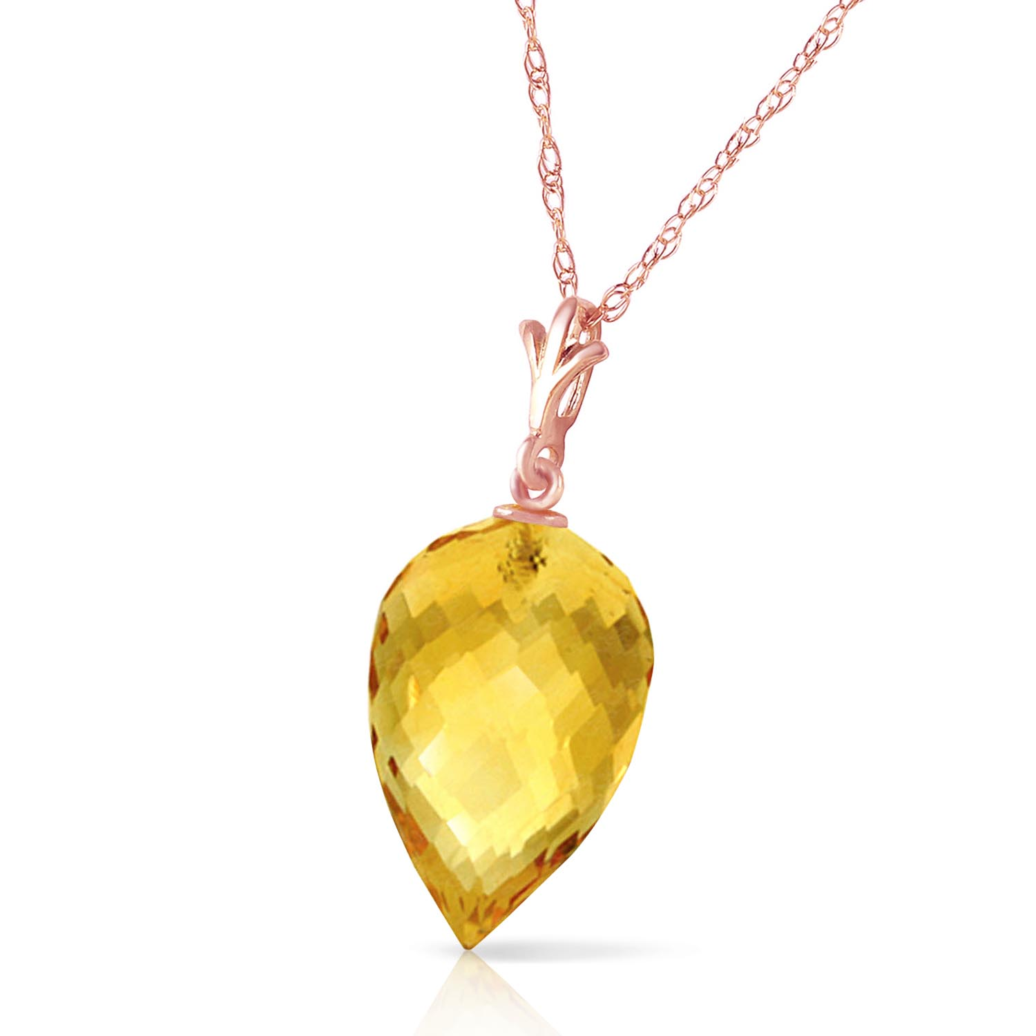 Citrine Briolette Pendant Necklace 9.5ct in 9ct Rose Gold