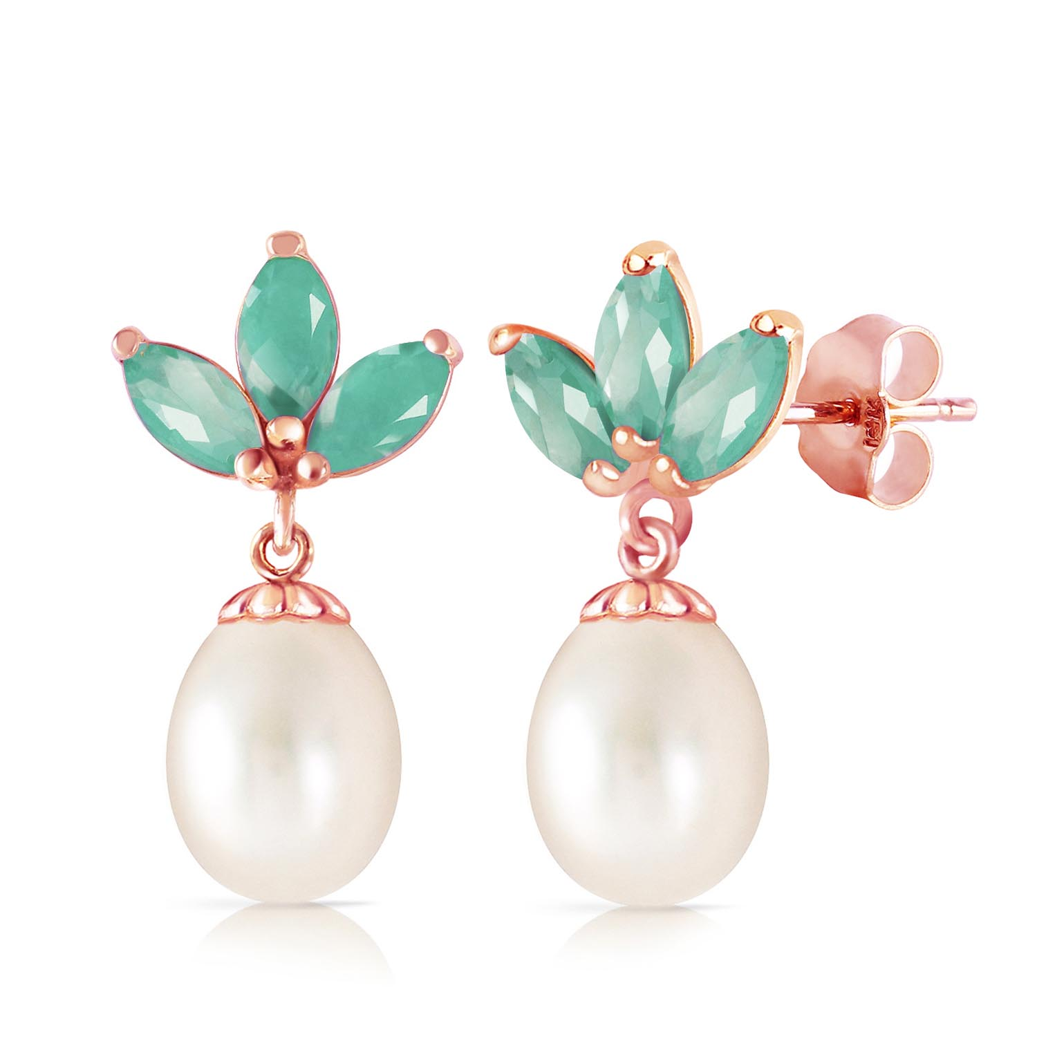Pearl and Emerald Petal Drop Earrings 9.5ctw in 9ct Rose Gold