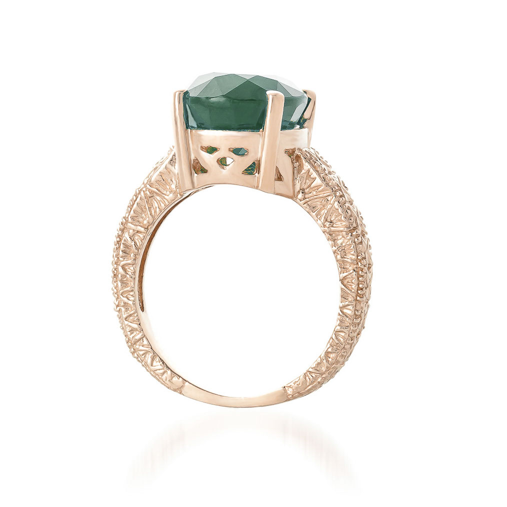 Oval Cut Emerald Ring in 9ct Rose Gold