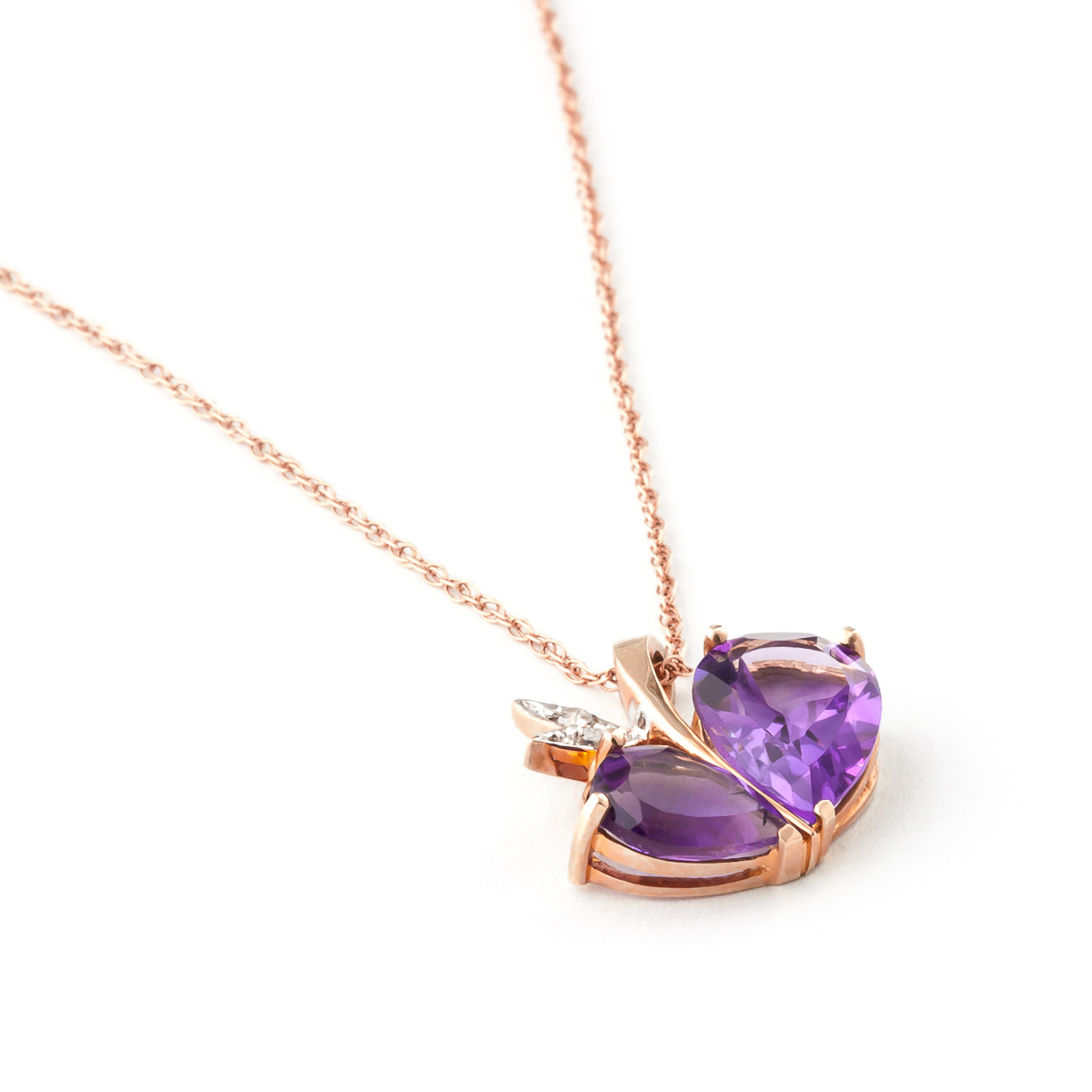 Amethyst and Diamond Eternal Pendant Necklace 4.0ctw in 9ct Rose Gold