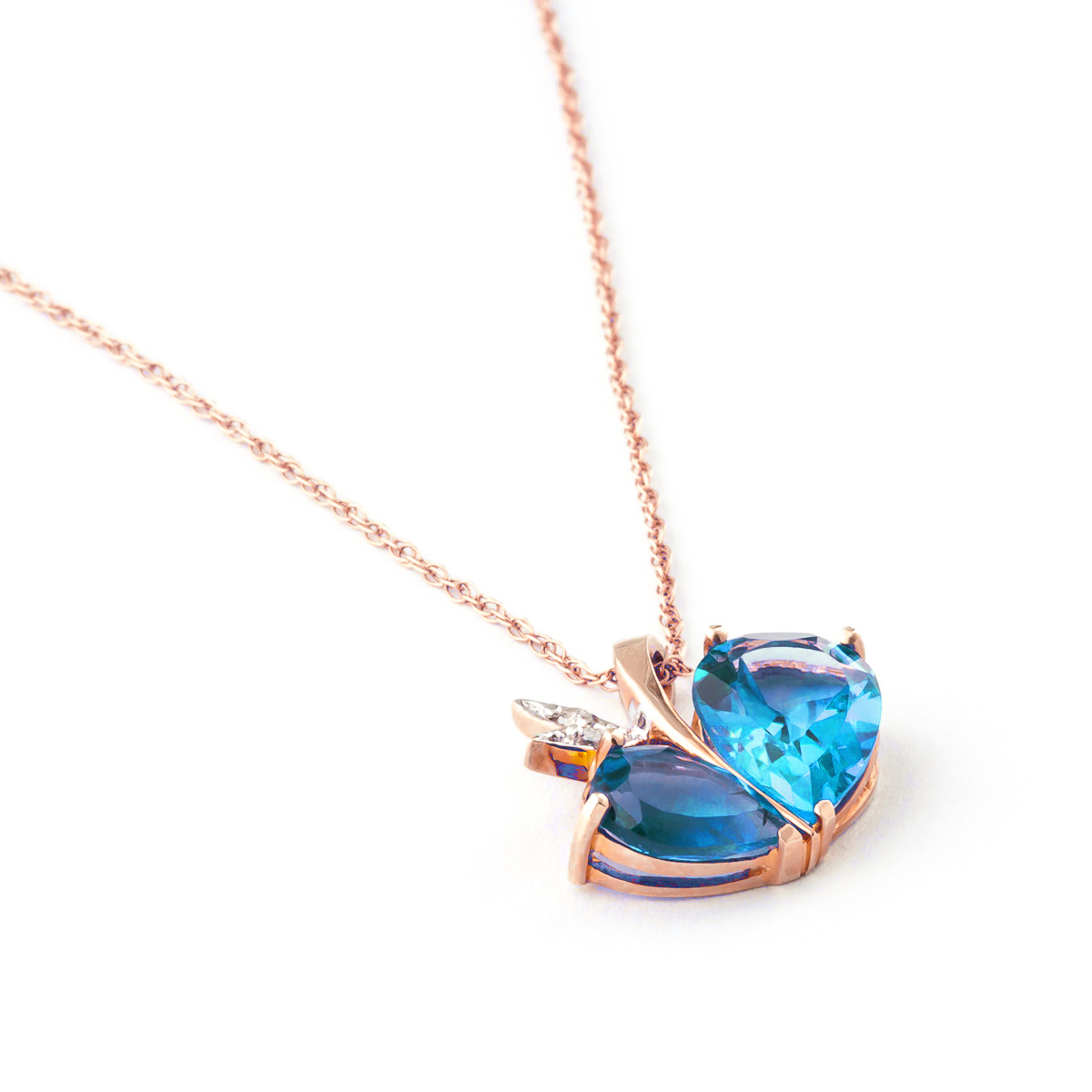 Blue Topaz and Diamond Eternal Pendant Necklace 5.2ctw in 9ct Rose Gold
