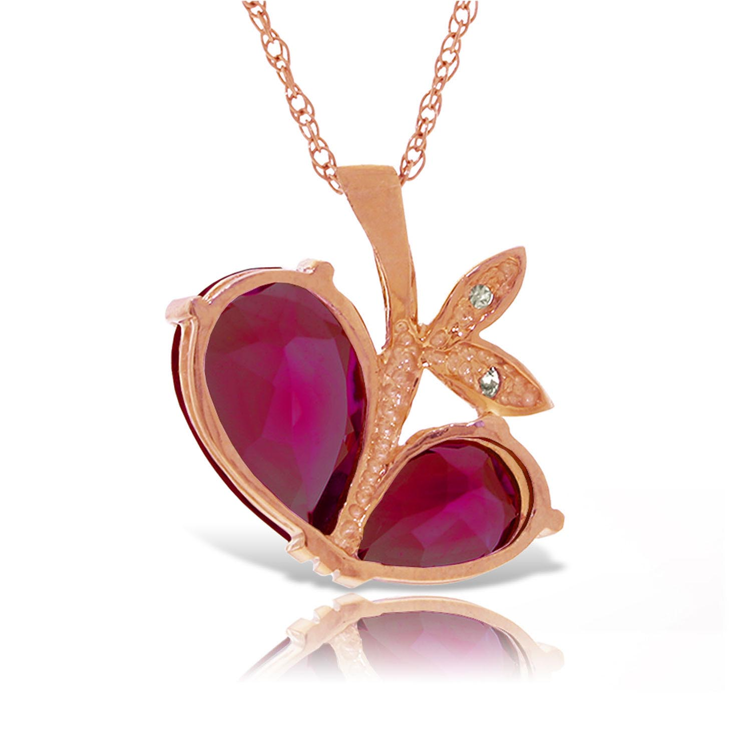 Ruby and Diamond Eternal Pendant Necklace 5.3ctw in 9ct Rose Gold