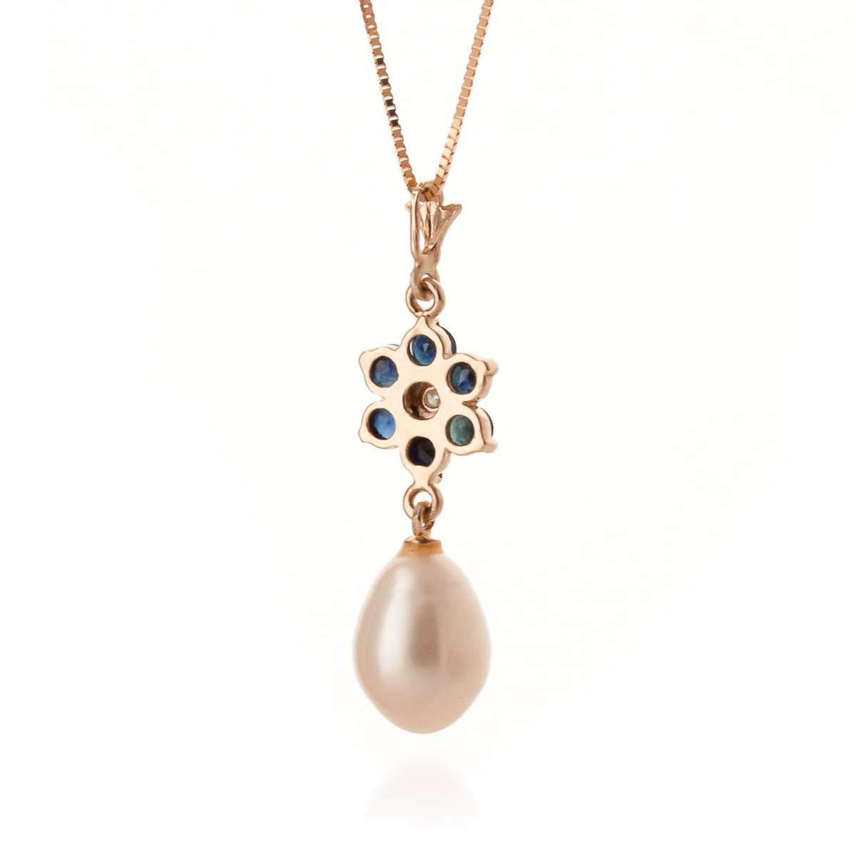 Sapphire and Diamond Flower Pendant Necklace 3.8ctw in 9ct Rose Gold