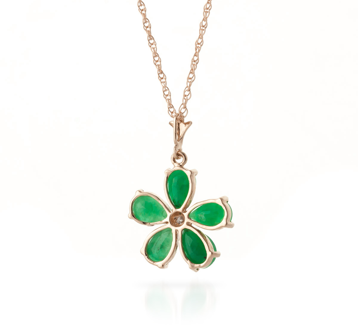 Emerald and Diamond Flower Petal Pendant Necklace 2.2ctw in 9ct Rose Gold