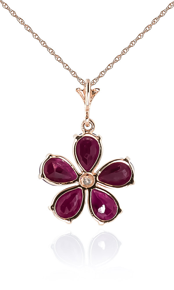 Ruby and Diamond Flower Petal Pendant Necklace 2.2ctw in 9ct Rose Gold