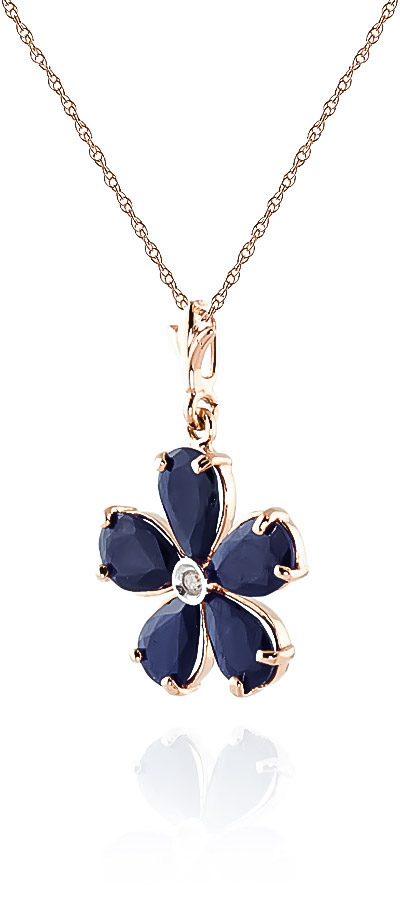 Sapphire and Diamond Flower Petal Pendant Necklace 2.2ctw in 9ct Rose Gold