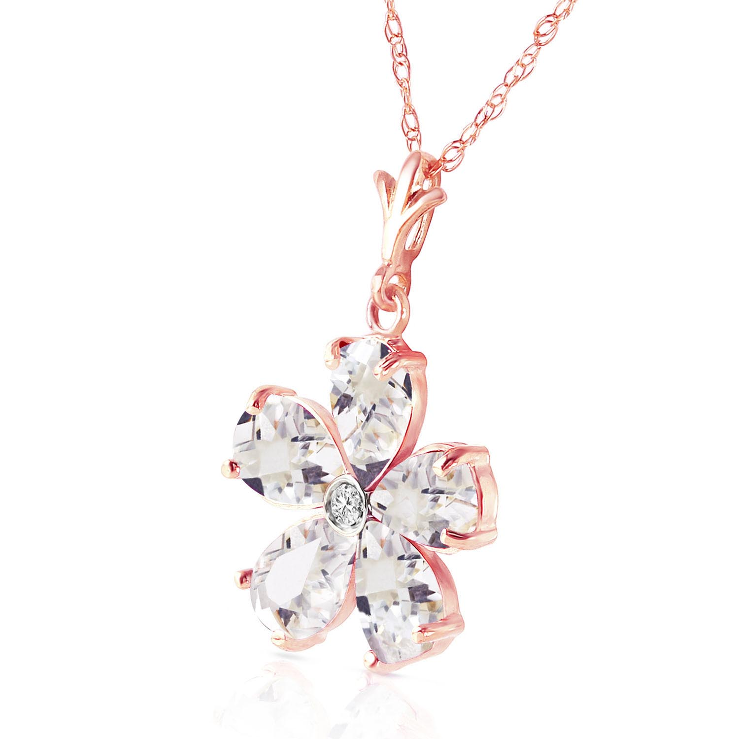 White Topaz and Diamond Flower Petal Pendant Necklace 2.2ctw in 9ct Rose Gold