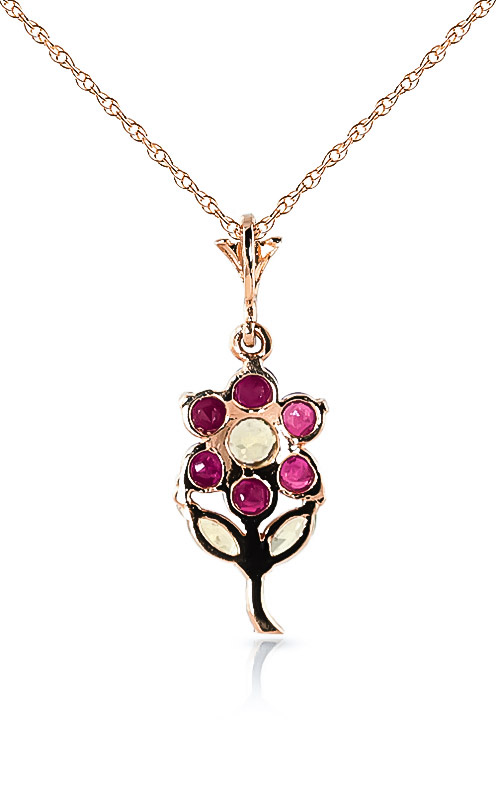 Ruby and Peridot Flower Petal Pendant Necklace 1.06ctw in 9ct Rose Gold