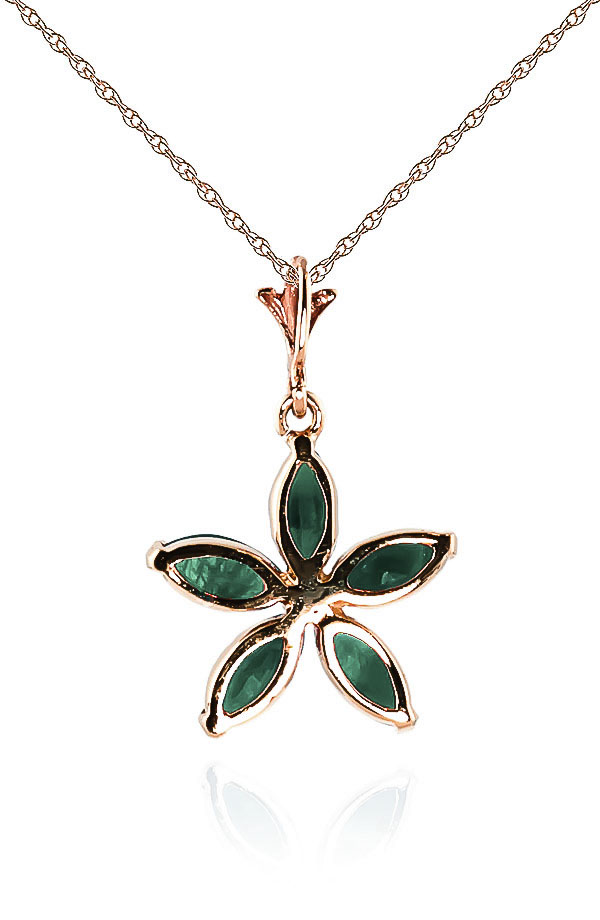 Emerald Flower Star Pendant Necklace 1.4ctw in 9ct Rose Gold
