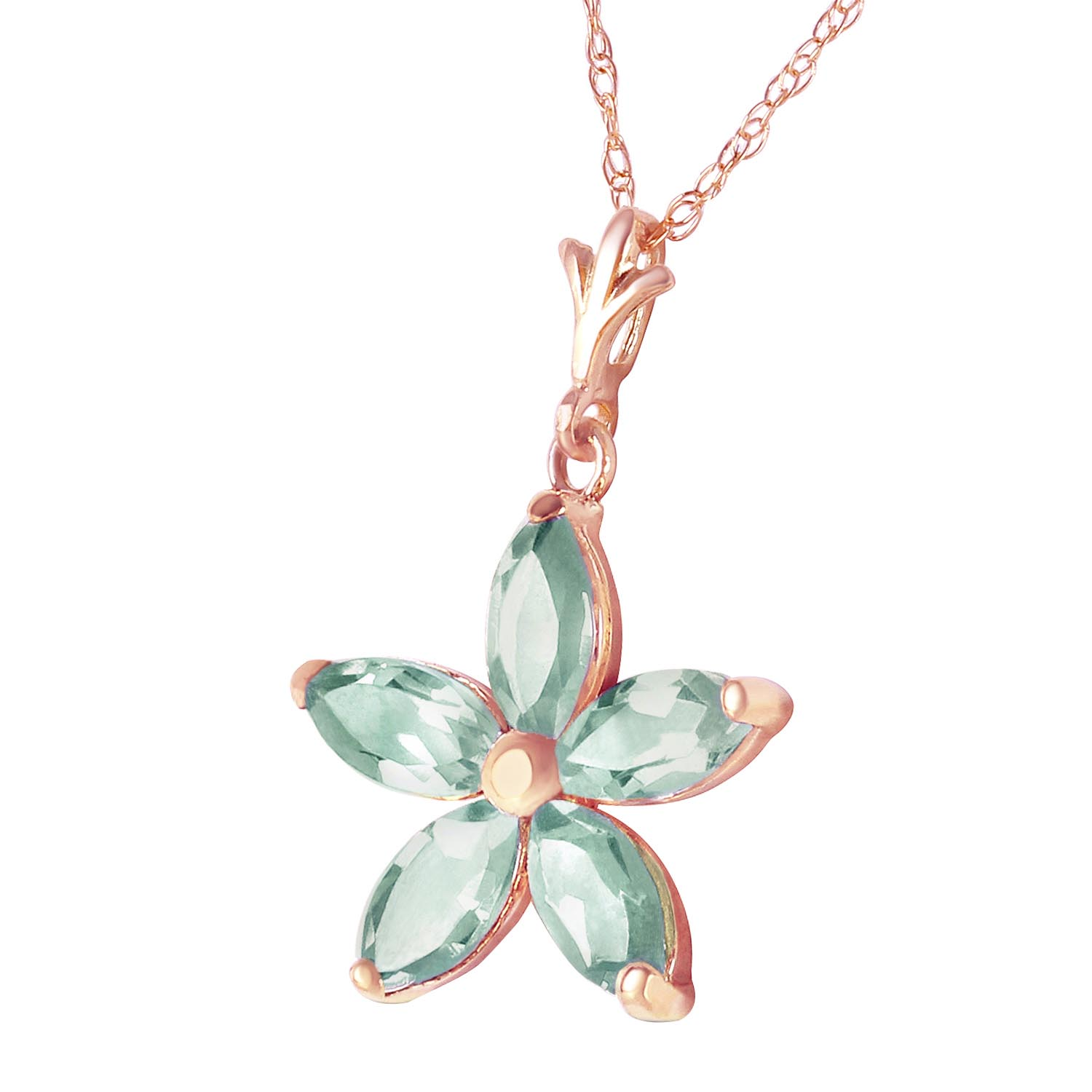 Green Amethyst Flower Star Pendant Necklace 1.4ctw in 9ct Rose Gold