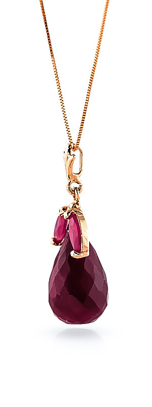Ruby Snowdrop Briolette Pendant Necklace 9.3ctw in 9ct Rose Gold