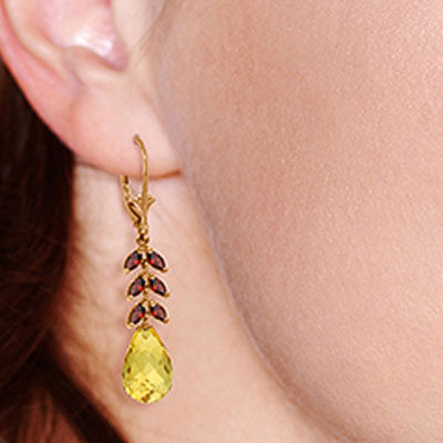 Citrine and Garnet Drop Earrings 11.2ctw in 9ct Rose Gold