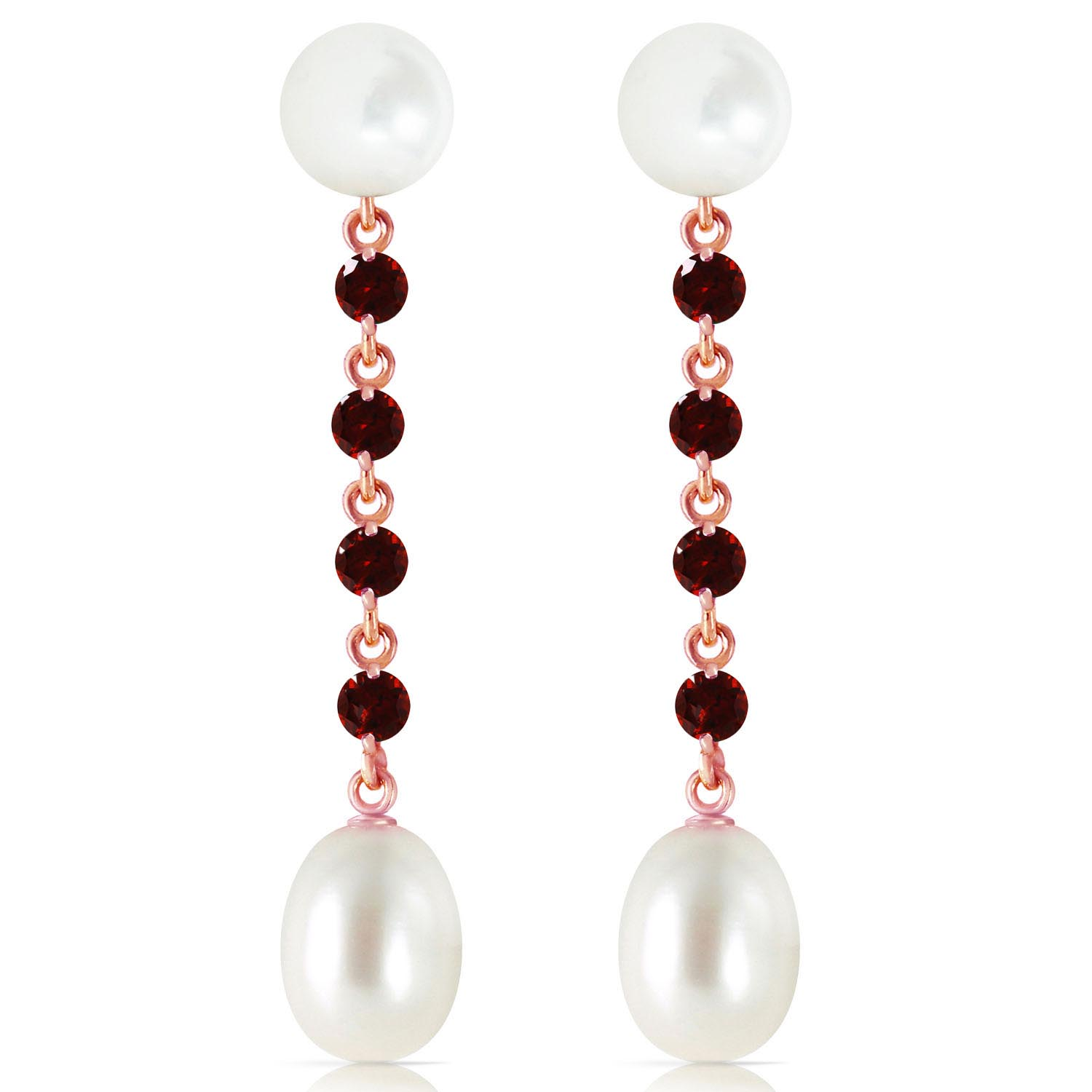Pearl and Garnet by the Yard Drop Earrings 11.0ctw in 9ct Rose Gold