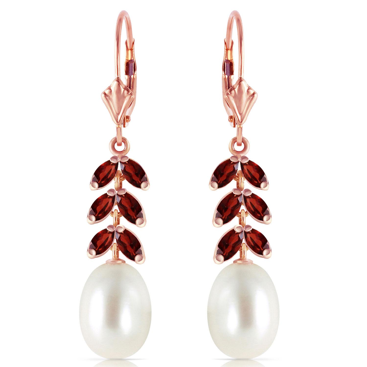 Pearl and Garnet Drop Earrings 9.2ctw in 9ct Rose Gold