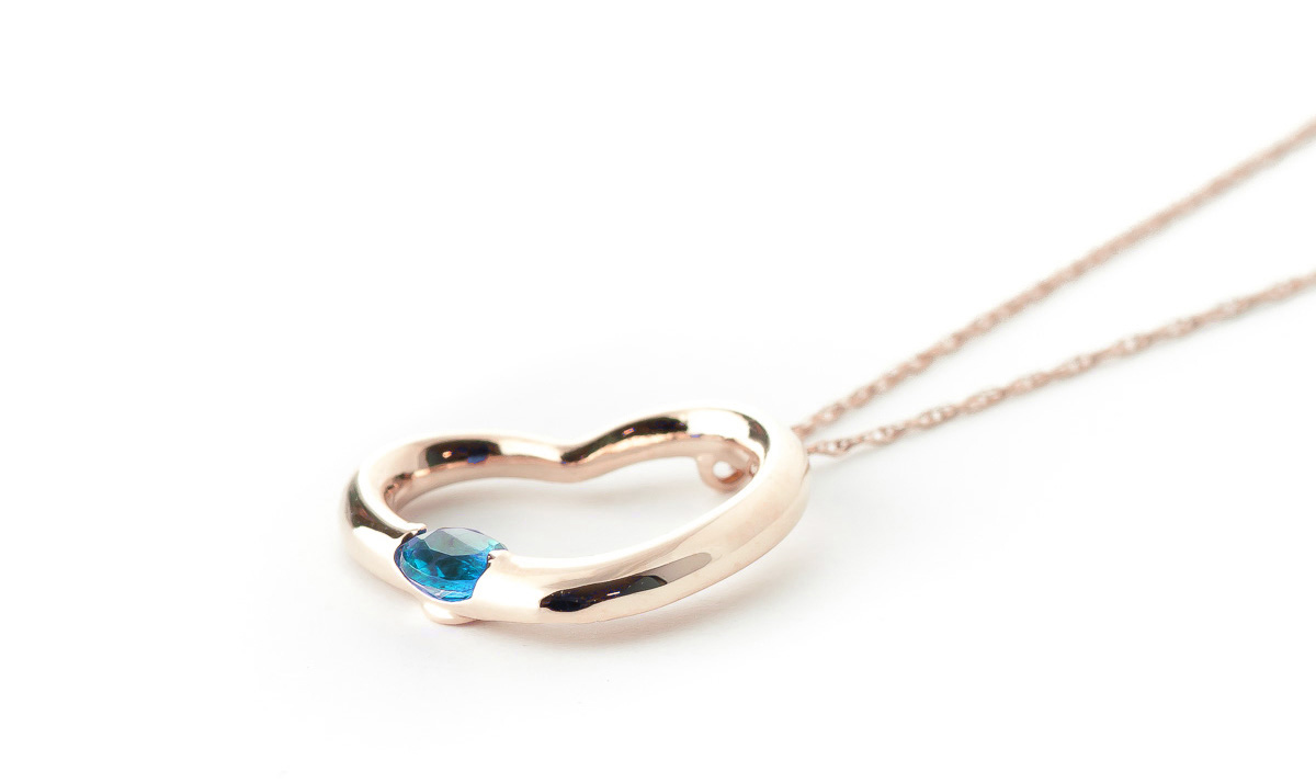 Round Brilliant Cut Blue Topaz Pendant Necklace 0.25ct in 9ct Rose Gold