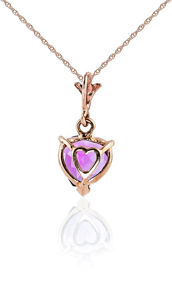Pink Topaz Heart Pendant Necklace 1.15ct in 9ct Rose Gold