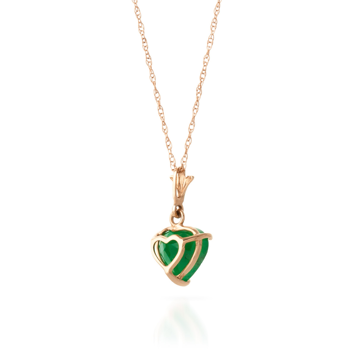 Emerald Heart Pendant Necklace 1.2ct in 9ct Rose Gold