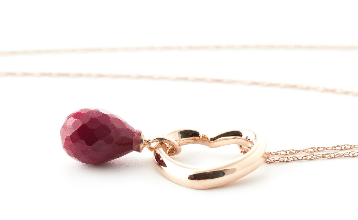 Pear Cut Ruby Pendant Necklace 3.3ct in 9ct Rose Gold